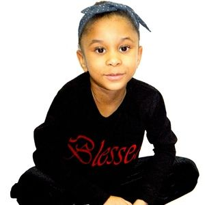 """Girl's Black Cotton """" Blessed """"  Top"""